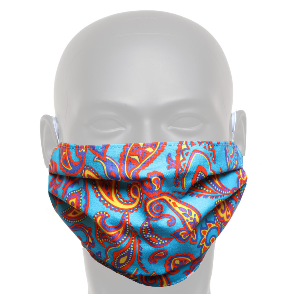 Electric Blue And Orange Paisley Face Mask