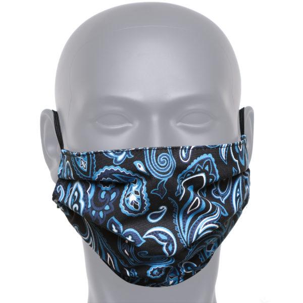 Black And Blue Paisley Face Mask