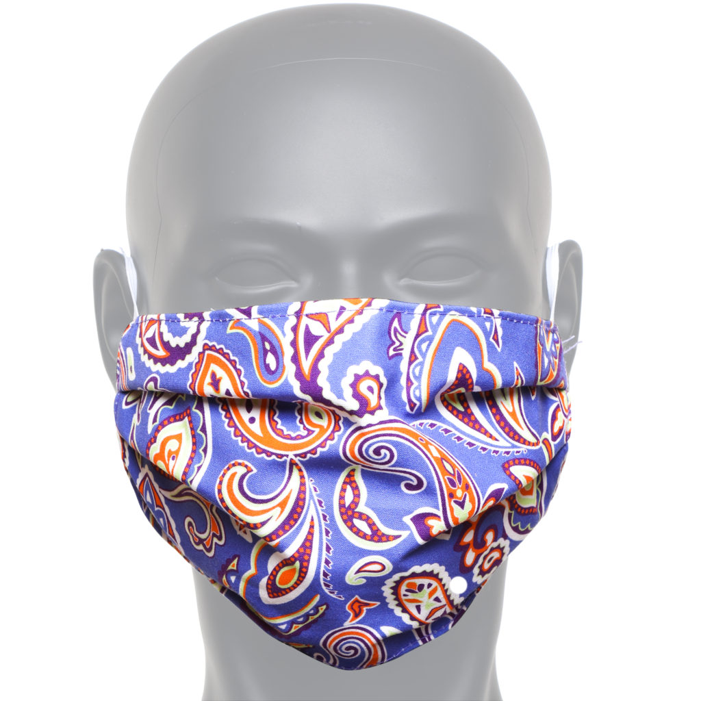 Blue And Orange Paisley Face Mask