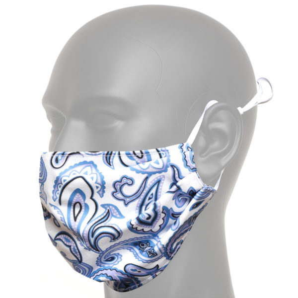 White And Blue Paisley Face Mask